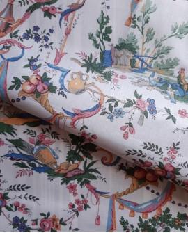 Tissu MFTA Toile de Jouy Vincennes Multicolore