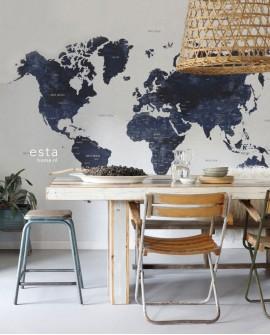 Panoramique Esta Home Photowalls XL² Carte du monde Bleu158853