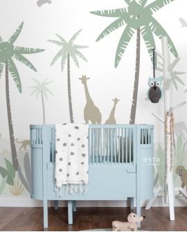 Panoramique enfants Let's Play! Esta Home Animaux de la jungle Vert 158928