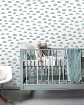 Papier peint enfants Let's Play! Esta Home Nuages Bleu gris 139066