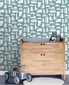 Papier peint enfants Let's Play! Esta Home Voitures Bleu gris 139048