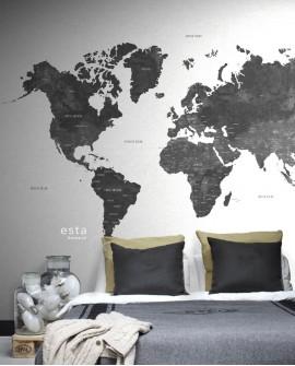 Panoramique Esta Home Photowalls XL² Carte du monde Graphite 158854