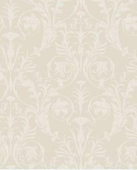 Papier peint arabesque Casadeco Montségur Trianon Blanc et beige