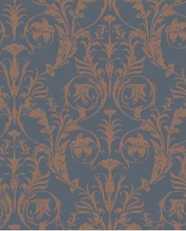 Papier peint arabesque Casadeco Montségur Trianon Bleu et cuivre
