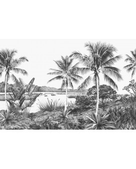 Panoramique Esta Home Photowalls XL² Paysage tropical noir 158901