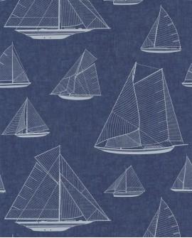 Papier peint maritime Casadeco Rivage Armada Blanc RIVG84020532