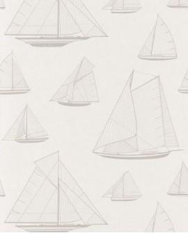 Papier peint maritime Casadeco Rivage Armada Beige RIVG84021126