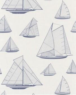 Papier peint maritime Casadeco Rivage Armada Bleu RIVG84026131