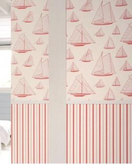Papier peint maritime Casadeco Rivage Armada Rouge RIVG84028205