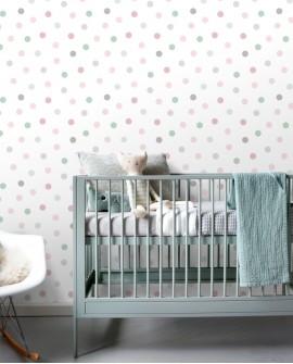 Papier peint enfants Let's Play! Esta Home Pois rose, vert, gris 139040