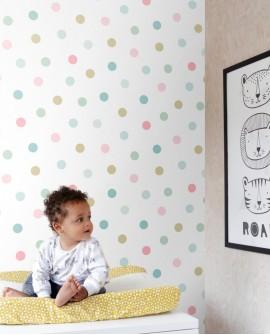 Papier peint enfants Let's Play! Esta Home Pois rose, bleu, vert, or 139041
