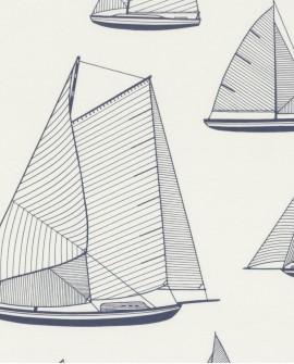 Tissu maritime Casadeco Rivage Armada Blanc RIVG84246104
