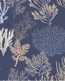 Tissu maritime Casadeco Rivage Corail Bleu RIVG84206521