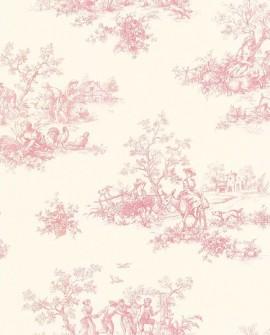 Papier peint Lutece Toile de Jouy Vieux rose 12118610