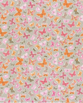 Tissu enfants Casélio Pretty Lili Papillons Rose Orange PRLI69284038