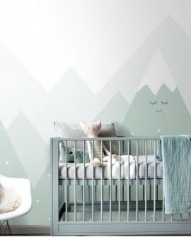 Panoramique enfants Esta Home Little Bandits Montagne Vert menthe 158839