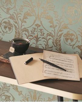 Papier peint arabesque Casadeco Montségur Trianon Vert amande
