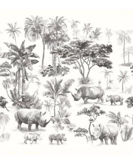 Panoramique tropical Beauty Full Image Sweet Safari Blanc et noir BFI101539911