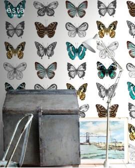 Panoramique Esta Home Photowalls XL² Papillons Turquoise 158507