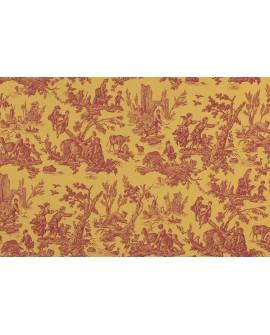 Tissu Toiles de Jouy Casal Au Loup Rouge/Jaune 30325-7040