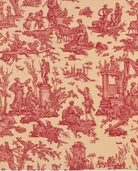 Tissu Toile de Jouy Casal Offrande à l'amour Rouge 30326-75