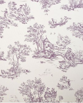 Tissu Casadeco Toile de Jouy Chantilly Jouy Parme CHT22875118