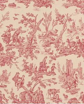 Tissu Toile de Jouy Casal Au Loup Rouge 30325-75