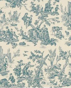 Tissu Toile de Jouy Casal Au Loup Bleu 30325-10