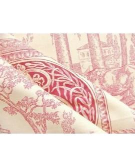 Tissu Toile de Jouy Casal Diane Chasseresse Rouge 30276/75