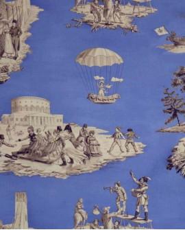 Tissu Toile de Jouy Casal Plaisirs d'hiver Bleu 30340/10