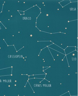 Papier peint enfant Our Planet Caselio Constellations Bleu OUP101916003