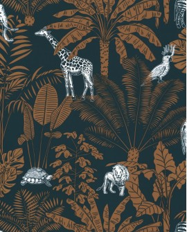 Papier peint enfant Our Planet Caselio Jungle Trip Bleu nuit OUP101956915