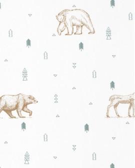 Papier peint enfant Our Planet Caselio Grizzly Vert d'eau OUP101987112
