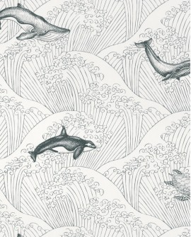 Papier peint enfant Our Planet Caselio Under the Sea Noir et blanc OUP102019902