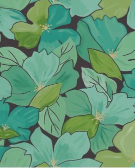 Papier peint fleurs Caselio Flower Power August Vert Emeraude FLP101887124