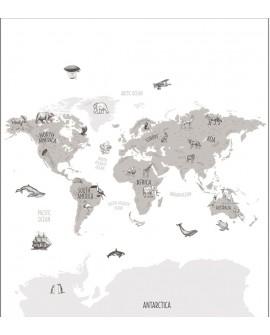 Panoramique enfant Our Planet Caselio World Map noir et blanc OUP102039918