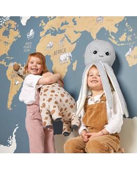 Panoramique enfant Our Planet Caselio World Map bleu et beige OUP102032066