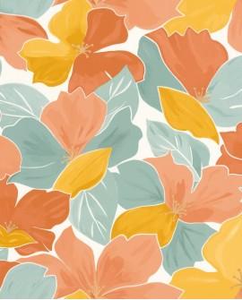 Papier peint fleurs Caselio Flower Power August Vert d'eau, ocre et corail FLP101887023