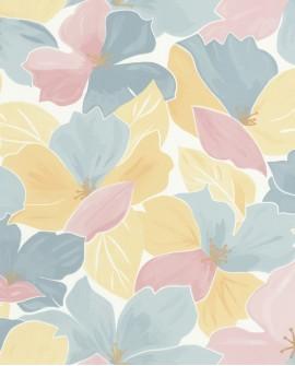 Papier peint fleurs Caselio Flower Power August Bleu, rose FLP101886042