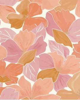 Papier peint fleurs Caselio Flower Power August Rose, corail FLP101884032