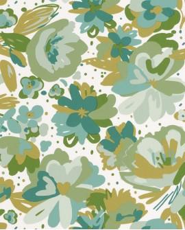 Papier peint fleurs Caselio Flower Power July Vert Emeraude FLP101877175