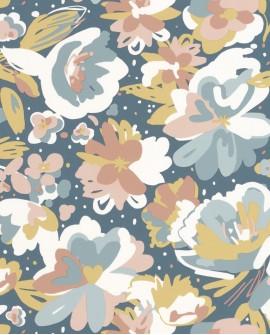 Papier peint fleurs Caselio Flower Power July Bleu Rose FLP101876041