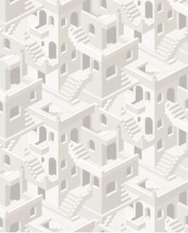 Papier peint géométrique Casadeco Utopia Illusion Blanc UTOP85110464