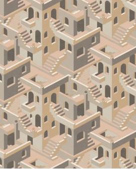Papier peint géométrique Casadeco Utopia Illusion Taupe rose UTOP85111327