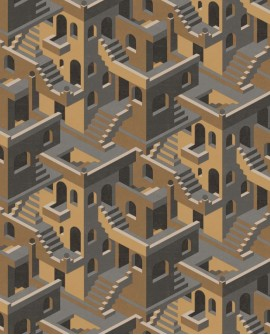 Papier peint géométrique Casadeco Utopia Illusion Ocre UTOP85119241
