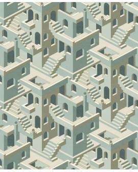 Papier peint géométrique Casadeco Utopia Illusion Bleu vert UTOP85117258