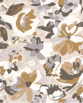 Papier peint fleurs Caselio Flower Power July Beige gris 101871090