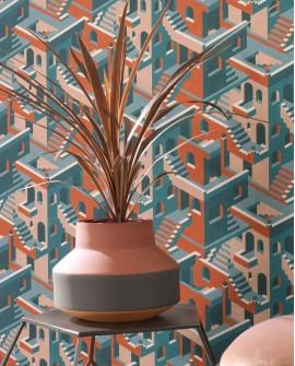 Papier peint géométrique Casadeco Utopia Illusion Bleu rose orange UTOP85113515