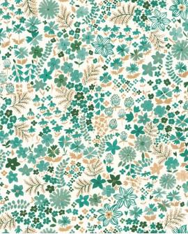 Papier peint fleurs Caselio Flower Power June Vert Émeraude Doré FLP101867126
