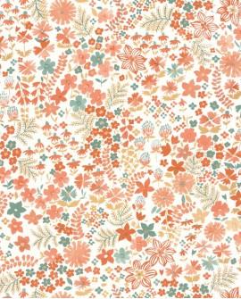 Papier peint fleurs Caselio Flower Power June Corail Vert FLP101863073